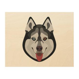 Impressão Em Madeira A ilustração persegue o rouco Siberian da cara