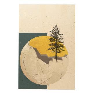 Impressão Em Madeira A lua velha