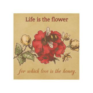 Impressão Em Madeira A vida é a flor