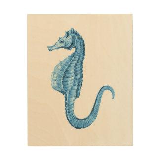 Impressão Em Madeira Aguarela náutica litoral azul do cavalo marinho