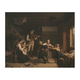 Impressão Em Madeira Amalia Lindegren - domingo à noite em uma casa da