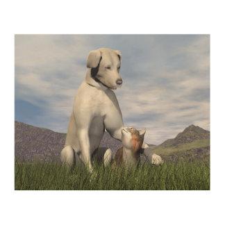 Impressão Em Madeira Amizade do cão e gato
