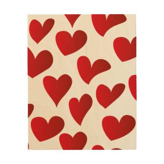 Impressão Em Madeira Amor vermelho pintado teste padrão do coração da