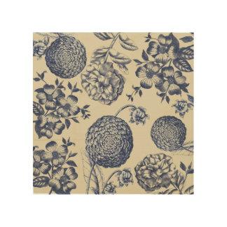 Impressão Em Madeira Antiguidade azul da flor do impressão dos