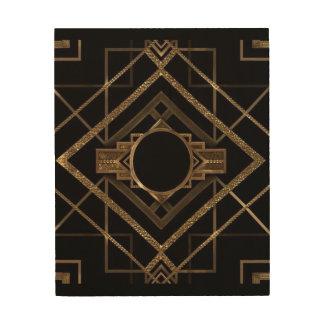 Impressão Em Madeira Art deco, nouveau, vintage, preto, ouro, chique,