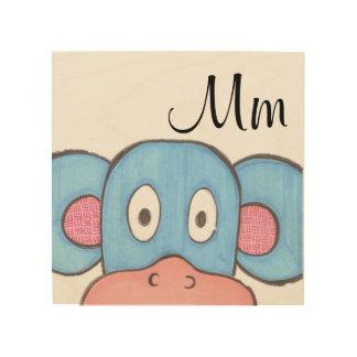 Impressão Em Madeira Arte bonito do painel do macaco - M é para o