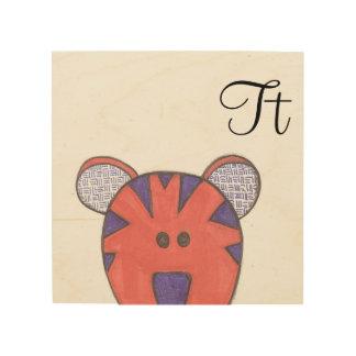 Impressão Em Madeira Arte bonito do painel do tigre - T é para o tigre