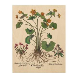 Impressão Em Madeira Arte botânica da arte de madeira da parede de