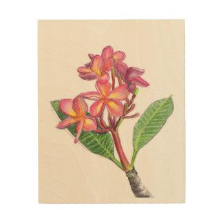 Impressão Em Madeira Arte da parede do Frangipani
