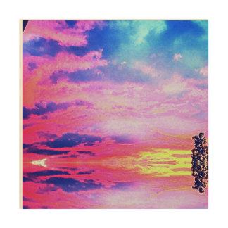 Impressão Em Madeira Arte da parede do por do sol