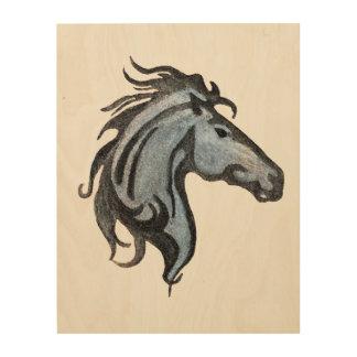 Impressão Em Madeira Arte de madeira da parede do cavalo dramático