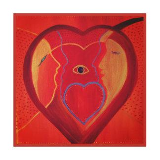 Impressão Em Madeira Arte de madeira da parede do coração