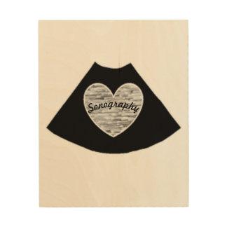 Impressão Em Madeira Arte de madeira da parede do coração da ecografia