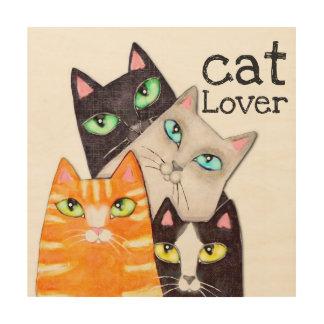 Impressão Em Madeira Arte de madeira da parede do gatinho bonito do