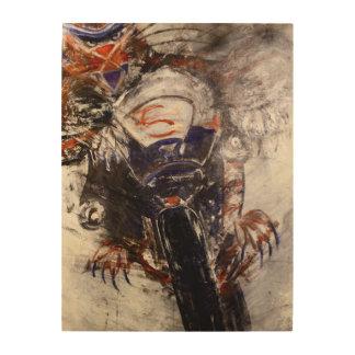 Impressão Em Madeira Arte de madeira da parede do gato do motociclista