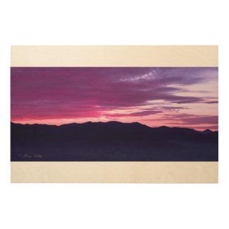 Impressão Em Madeira Arte de madeira da parede do por do sol roxo