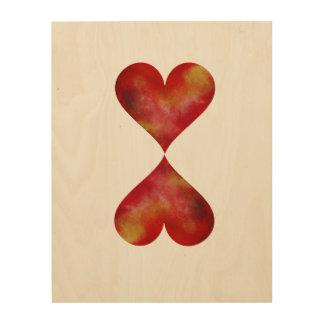 Impressão Em Madeira Arte de madeira da parede dos corações vermelhos