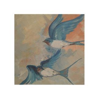 Impressão Em Madeira Arte de madeira da parede dos pássaros da