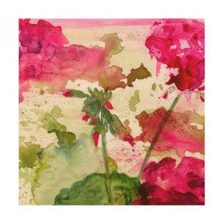 Impressão Em Madeira arte de madeira floral abstrata