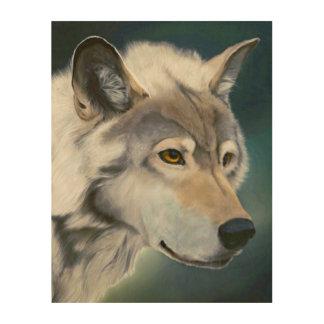 Impressão Em Madeira Arte de madeira majestosa da parede do lobo