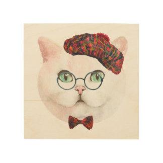 Impressão Em Madeira Arte escocesa da parede do gato da rapariga