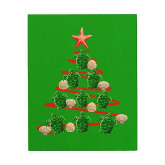Impressão Em Madeira Árvore de Natal das tartarugas de mar verde
