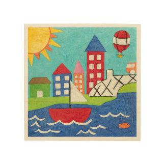 Impressão Em Madeira Balão do veleiro e de ar quente com arquitectura