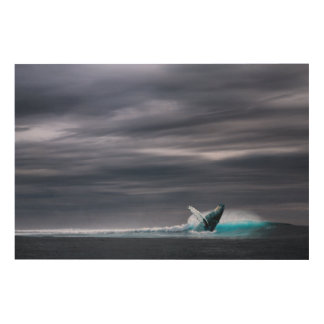 Impressão Em Madeira Baleia azul impressionante
