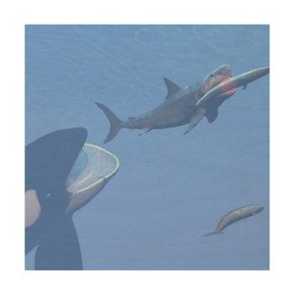 Impressão Em Madeira Baleias e megalodon subaquáticos - 3D rendem