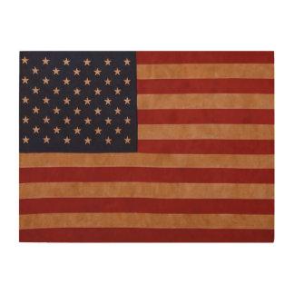 Impressão Em Madeira Bandeira americana rústica na madeira