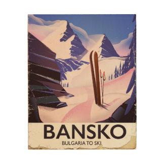Impressão Em Madeira Bansko Bulgária a esquiar