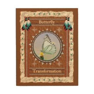 Impressão Em Madeira Borboleta - canvas da madeira da transformação