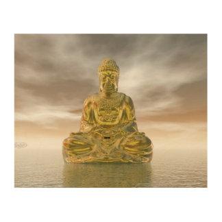 Impressão Em Madeira Buddha dourado - 3D rendem