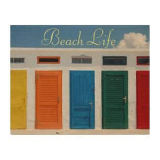 Impressão Em Madeira Cabanas coloridas da porta da vida da praia multi