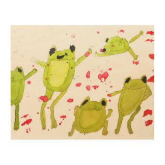 Impressão Em Madeira Caçoa sapos bonitos da arte da sala no watercolour