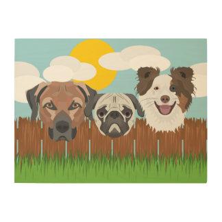 Impressão Em Madeira Cães afortunados da ilustração em uma cerca de