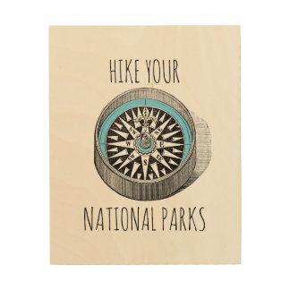 Impressão Em Madeira Caminhe sua arte da madeira dos parques nacionais