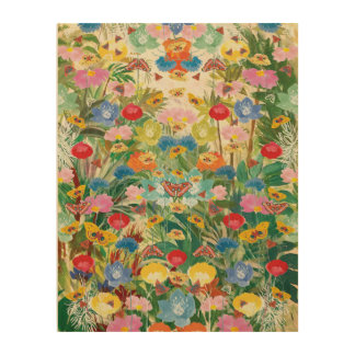 Impressão Em Madeira Canvas da madeira da arte da floresta da borboleta