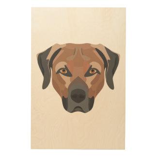Impressão Em Madeira Cão Brown Labrador da ilustração