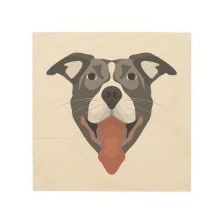 Impressão Em Madeira Cão Pitbull de sorriso da ilustração
