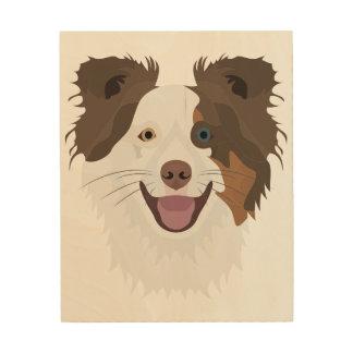Impressão Em Madeira Cara feliz border collie dos cães da ilustração