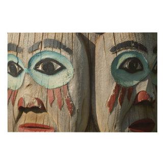 Impressão Em Madeira Caras de um Totem pólo, Alaska