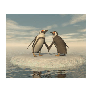 Impressão Em Madeira Casal dos pinguins