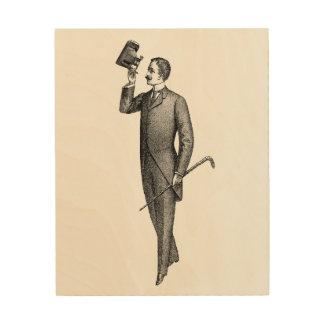 Impressão Em Madeira Cavalheiro Selfie do Victorian