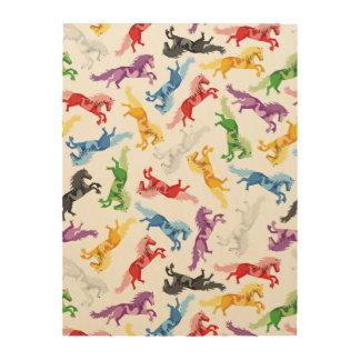 Impressão Em Madeira Cavalos de salto coloridos do teste padrão