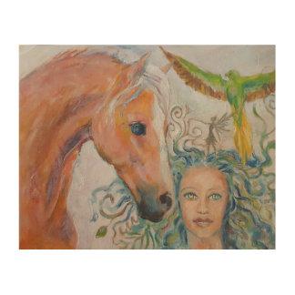 Impressão Em Madeira Chapa de madeira do cavalo com mulher, fada e