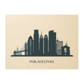 Impressão Em Madeira Cidade monocromática de Philadelphfia, Pensilvânia