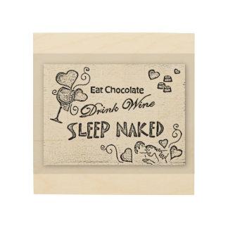 Impressão Em Madeira Coma o sono do vinho da bebida do chocolate