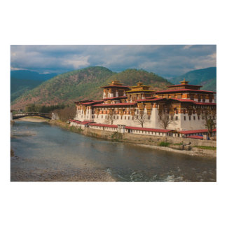 Impressão Em Madeira Construção de Dzong pelo rio