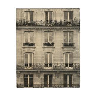Impressão Em Madeira Construção preto e branco do vintage do viagem |